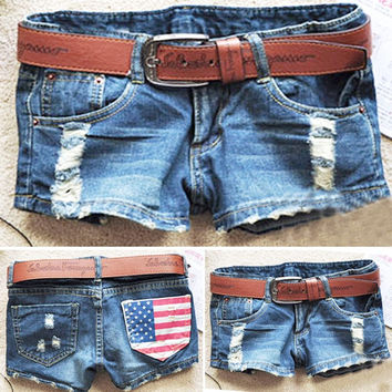 2017 New Fashion Women's Cool Denim Shorts Wash Distressed American Flag Low Waist Hot Jeans Shorts feminino Trousers