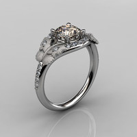 Nature Inspired 18K White Gold 1.0 CT Champagne Diamond Butterfly and Vine Engagement Ring, Wedding Ring NN117S-18KWGDCHD