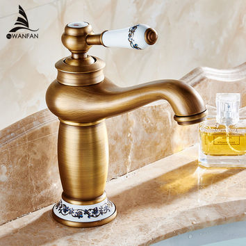 Free shipping Contemporary Concise Bathroom Faucet Antique bronze finish Brass Basin Sink Faucet Single Handle water tap M-16F