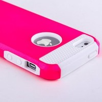 suchAcase Armor Defender Hybrid Silicone/PC Hard Back Case Skin for iPhone 5 + Free Screen Protector (Pink)