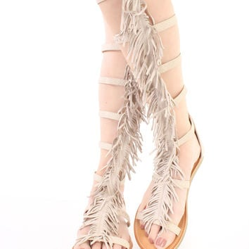 Skin Textured Fringe Gladiator Sandals Faux Leather