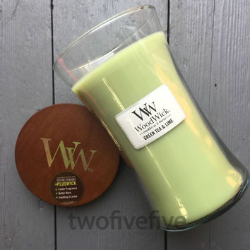Green Tea & Lime Large Woodwick Candle