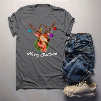 Men's Christmas Shirt Christmas Outfit Christmas Wreath Cute Deer Merry Christmas Graphic Tee