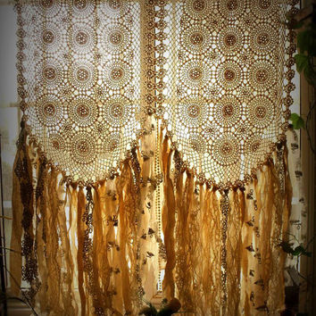 Custom Boho Hippie Vintage Crochet Curtain rag Fabric Garland Valance Backdrop cream Wedding Backdrop