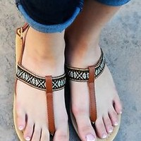 Women's Sandals T Strap Faux Leatherette Tribal Flip Flop Slingback Flat New
