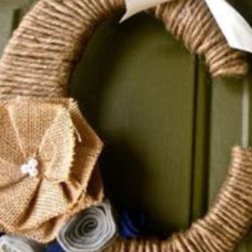Twine Monogram Letter Wreath with handcrafted felt flowers and a ribbon to hang