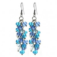 Ocean Blue Cluster Faceted Crystal Dangle Hook Earrings For Women 2""