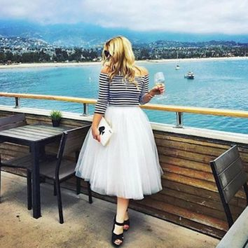 7 Layers Midi Tulle Skirts Womens Fashion Pleated TUTU Skirt Elegant Wedding Vintage Lolita Petticoat faldas mujer saias Jupe