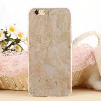 Light Yellow Marble Stone Protect iPhone 5s 6 6s Plus Case + Gift Box-131