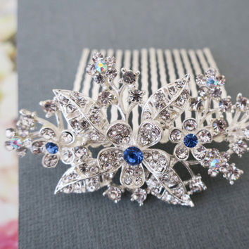 Blue Crystal Hair Comb, Rhinestone Wedding Bridal Flowers Hair Combs, LaLaMooD