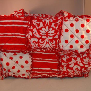 Red  Damask rag purse by PeppermintTwistC on Etsy