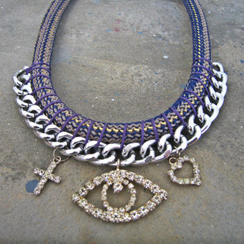 Rope and Rhinestone Evil Eye Necklace in Blue, Statement Necklace