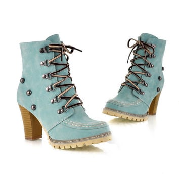 Lace Up Studded Women Ankle Boots Platform High Heels Shoes Woman 3356