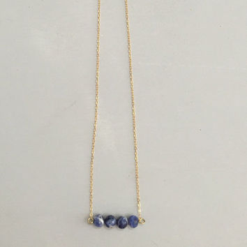 Blue sodalite stone necklace 14k gold filled chain 20""