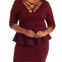 Plus Size Burgundy Caged Peplum Dress by Charlotte Russe