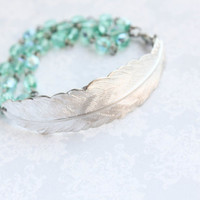 Silver Feather Bracelet with Aqua Teal Glass Beaded Chain Silver Brass Woodland Multi Chain Nature Inspired Bird Take Flight Womens Gift