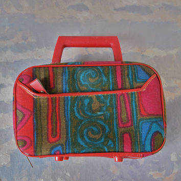 Vintage Purse Little Suitcase 60's Mod Red Vinyl and Batik Red Olive Blue Vibrant Handbag