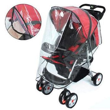 Universal Buggy Pushchair Stroller Pram Transparent Rain Cover Baby Travel Cover