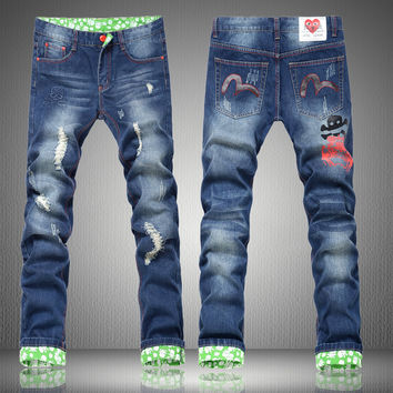 Winter Stylish Korean Men Pants Weathered Jeans [6528597891]