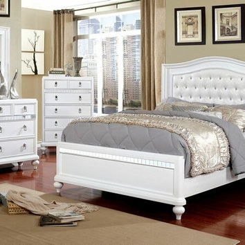 5 pc Ariston collection white finish wood padded and tufted headboard queen bedroom set