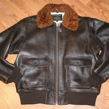 Schott NYC G1S - Leather Lambskins Flight Jacket -antiq brown   2 xl