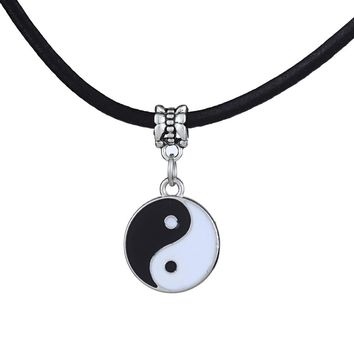 Vintage Stainless Steel  Pendant Necklace Black White Necklace Men PU Leather Necklaces Jewelry