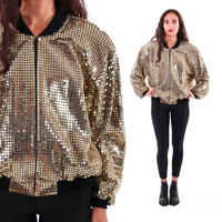80s Gold Metallic Sequin Windbreaker Bomber Jacket Slouchy 90s Vintage Outerwear Hipster Hip Hop Glam Unisex Womens Size Medium Mens Small