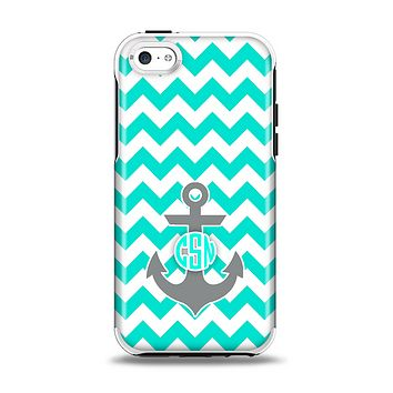The Teal Green and Gray Monogram Anchor on Teal Chevron Apple iPhone 5c Otterbox Symmetry Case Skin Set