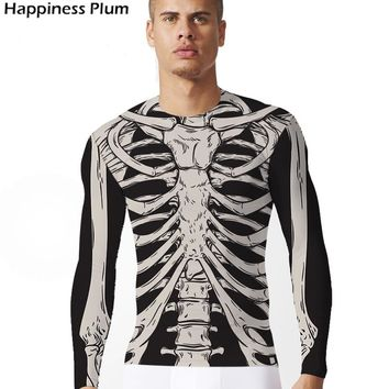 2017 High Quality Skeleton Shirt Men Long Sleeve Mens Brand Clothing Bone Punk T Shirt 3d Print Tshirt Lycra Skulls Tops Tees
