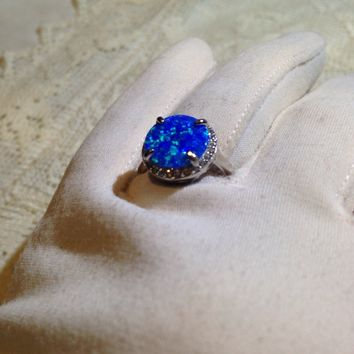 Vintage Handmade Blue Lab Made Opal Filigree setting Sterling Silver Rhodium Ring
