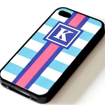 Nautical Monogram iPhone Case - Light Blue Stripes