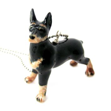 Doberman Pinscher Dog Porcelain Ceramic Animal Pendant Necklace | Handmade