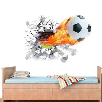 firing football through wall stickers kids room decoration 1473. home decals soccer funs 3d mural art sport game pvc poster 5.0