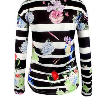 Casual Floral Striped Round Neck Long Sleeve T-Shirt