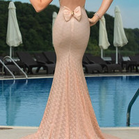 Pink Sleeveless Backless Bowknot Embellished Mermaid Dress