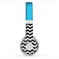 The Solid Blue with Black & White Chevron Pattern Skin for the Beats by Dre Solo 2 Headphones