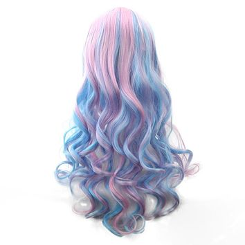 Long Hair Ombre Color High Temperature Fiber Wig - Pink Blue Synthetic Hair Cosplay Wig - 70cm/28in