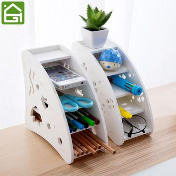 Eco-friendly Plastic Wood TV Air Conditioner Remote Control Holder Home Office Sundries Storage Case Desk Organizer Box