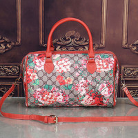 shosouvenir:Gucci Women Leather Flower Print Luggage Travel Bags Tote Handbag