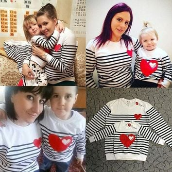 PEAPUNT 2016 cotton t-shirt striped mother mommy and me daughter father baby clothes matching family clothing sets family look