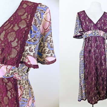 Vintage Betsy Johnson Lace Dress // Tie Back // Lotus Flower Design // Flair Sleeves  // Medium