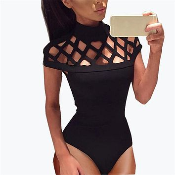 Sexy Hollow Out Bodysuits Summer 2017 Mesh Bodysuit Women Rompers Overalls Short Sleeve Playsuit Jumpsuit Black Green Red