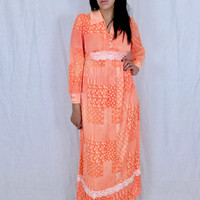 Vintage 60s Orange and White Psychedelic Patchwork Pattern Light Polyester Nylon Fold Over Collar Long Sleeve Empire Waist Maxi Dress M // S