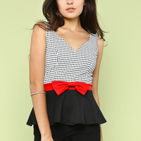 Ribbon Peplum Top