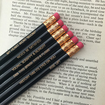 Hamilton pencils in black 6 six engraved pencils of awesomeness. inspirational stocking stuffers.