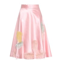 Feather-embellished silk skirt