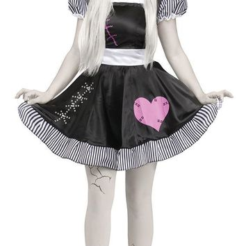 Scarey Corpse bride white Costume for women Halloween canival dress zombie fancy dress ball fantasia anastasia costume