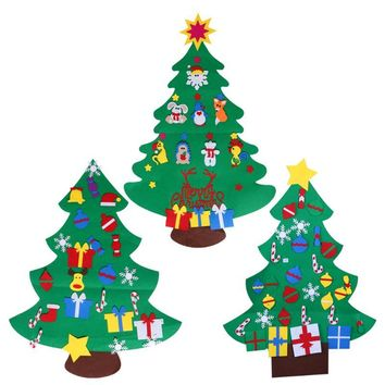 DIY Stereo Felt Christmas Tree with Decorations Door Wall Hanging Gifts Ornaments Eductional Children Gifts Xmas Decoration