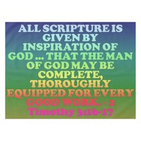 Bible verse from 2 Timothy 3:16-17. Tablecloth