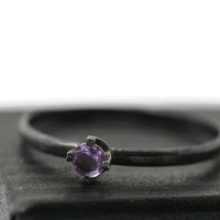 Tiny Amethyst Ring, Minimalist Ring, Black Engagement Ring, Oxidized Silver Ring, Purple Gemstone Ring